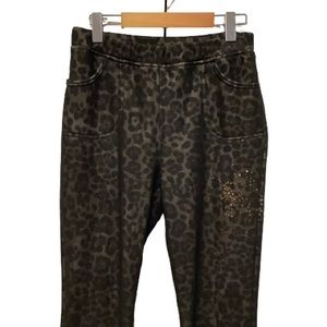 WOMENS ANIMAL PRINT LINED PULL UP PANTS SZ M